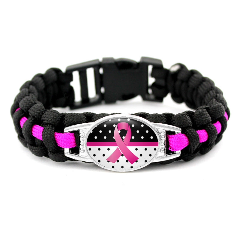 Breast Cancer Awareness Paracord Survival Bracelet (5 Styles)
