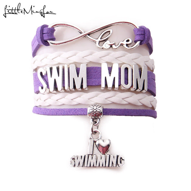 Little MingLou Infinity Love Swim Mom Charm bracelet (5 Styles)