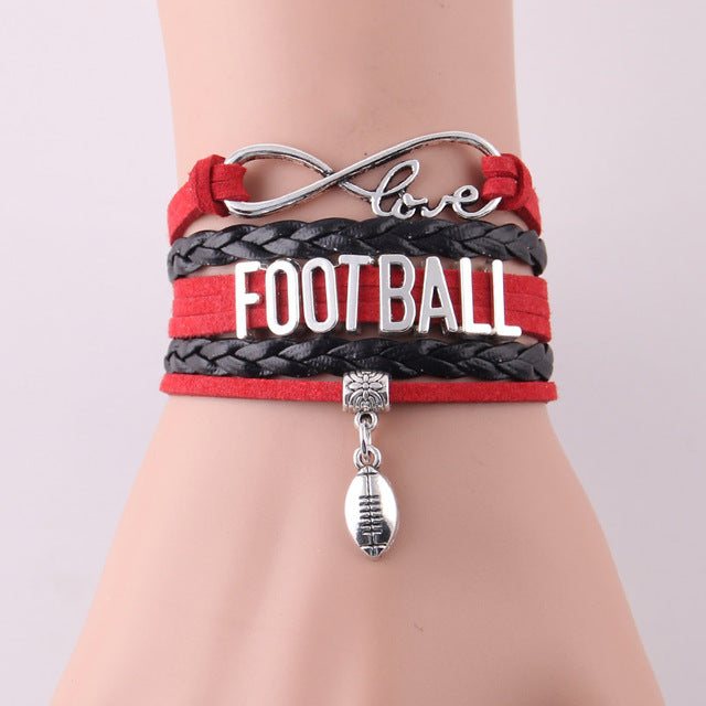 Little Minglou Infinity Love FOOTBALL Charm Bracelet (6 Styles)