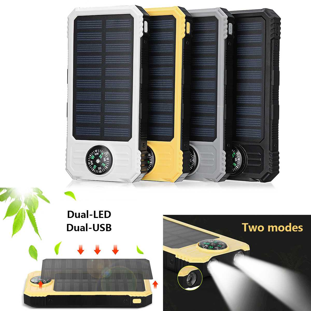 Waterproof 20000mAh Solar Power Bank Dual USB Charger  and LED Flashlight Cell Phone Charger