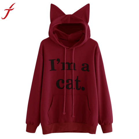 Lady Cat Ears Long Sleeve Hoodie Pullover I'M A CAT Letter Printed Pocket Tops Blouse
