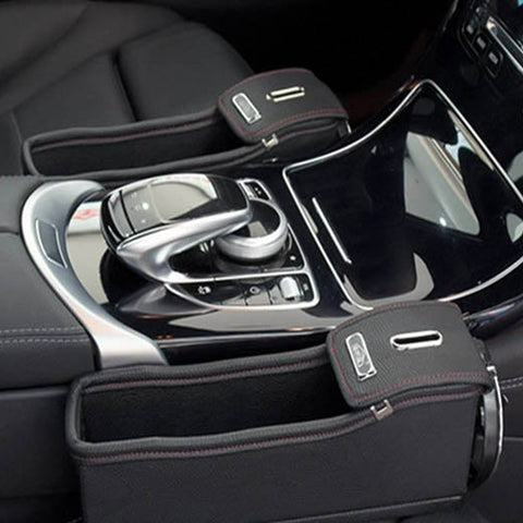 Leather Car Seat Organizer with Coin Organizer and Cup Holder - AWESURF