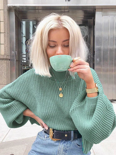 Oversize sweater with long puffy lantern sleeves tea green color soft and cozy