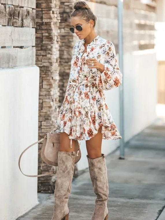 Floral June Dress is a classic boho draped asymmetrically & made from quality fabric. Depicts a bohemian floral print pattern, with a v neck and a bow tie belt for comfort and waist adjustments. Sweet and breezy made for your everyday easy going look!
