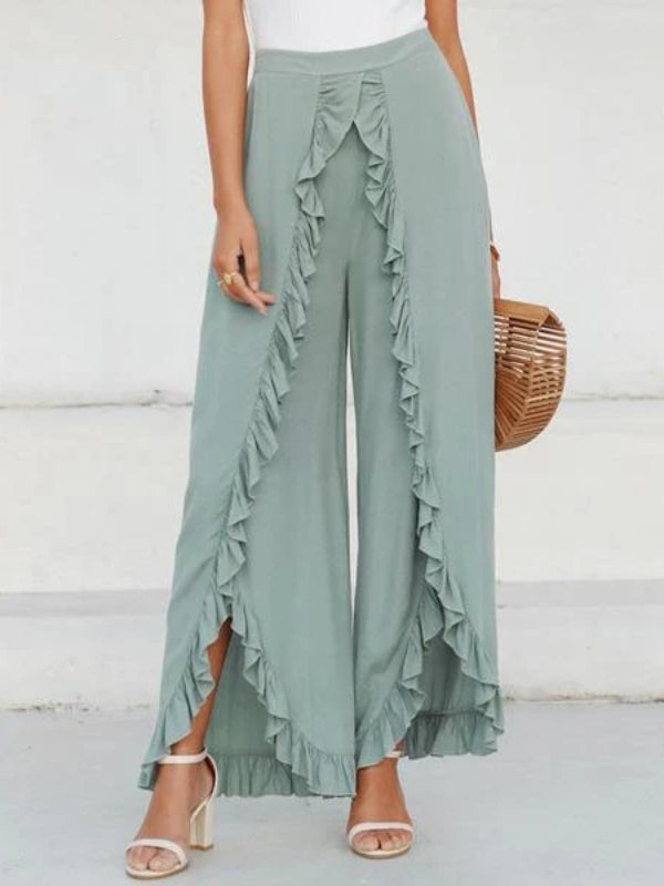Capri Green Split Trousers