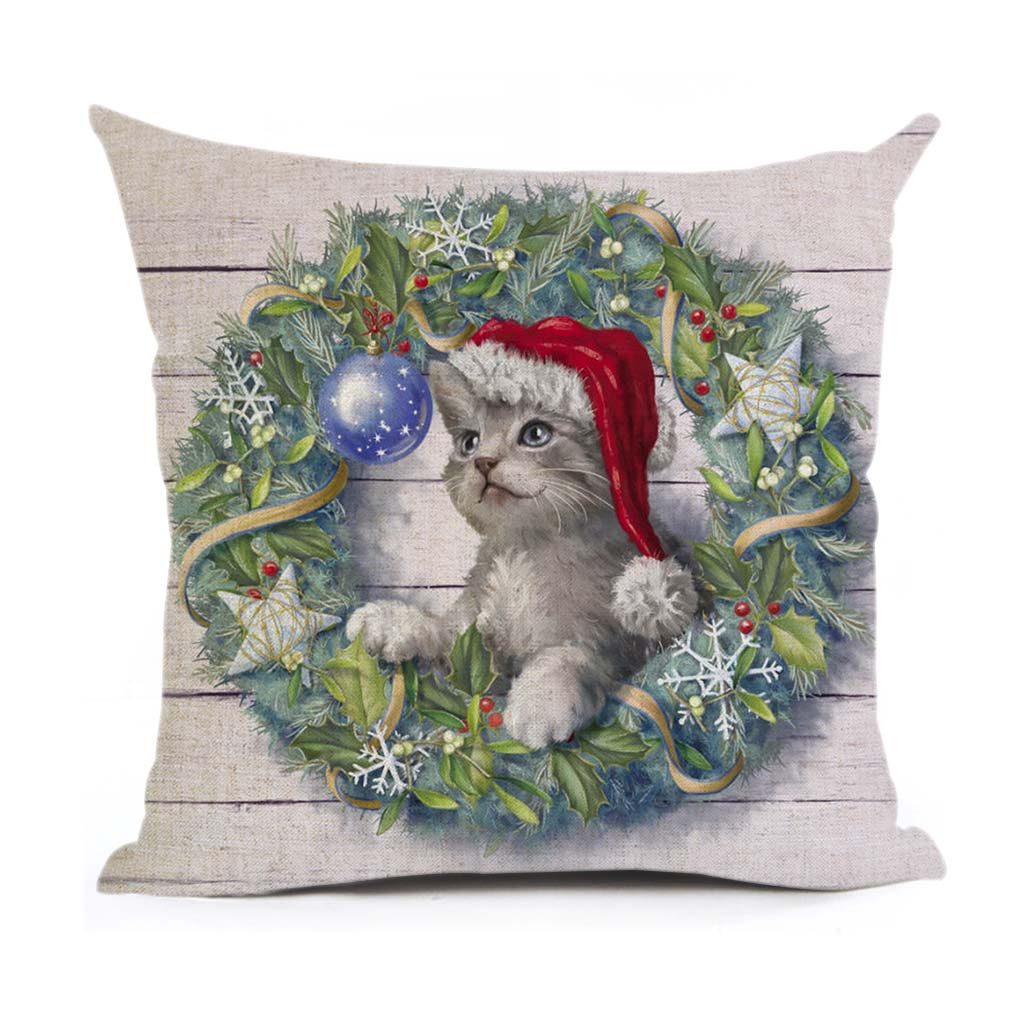 Christmas Decoration Cushion Cover Dogs And Cats