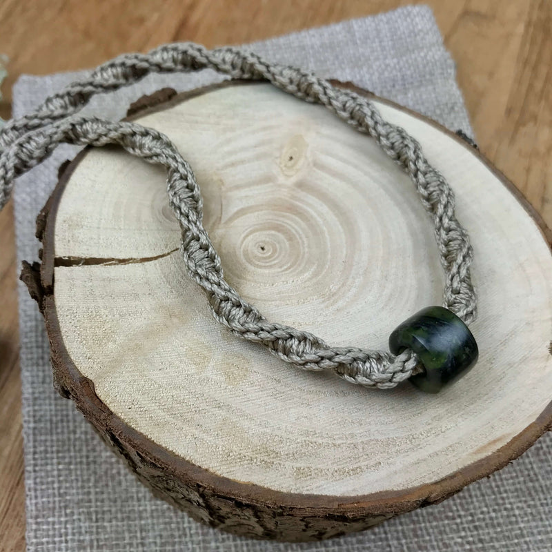 Pounamu (Serpentinite) GeoBraid Bead Necklace