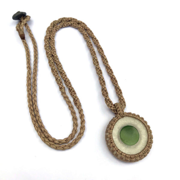 """The Cosmos"" Quartz & Nephrite Jade (Pounamu) GeoBraid Kopae Necklace"