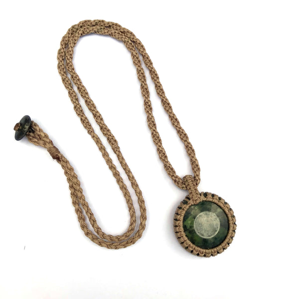 """The Cosmos"" Serpentinite (Pounamu) & Quartz GeoBraid Kopae Necklace"