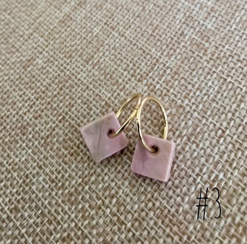 Gold & Rhodonite Sleeper Earrings