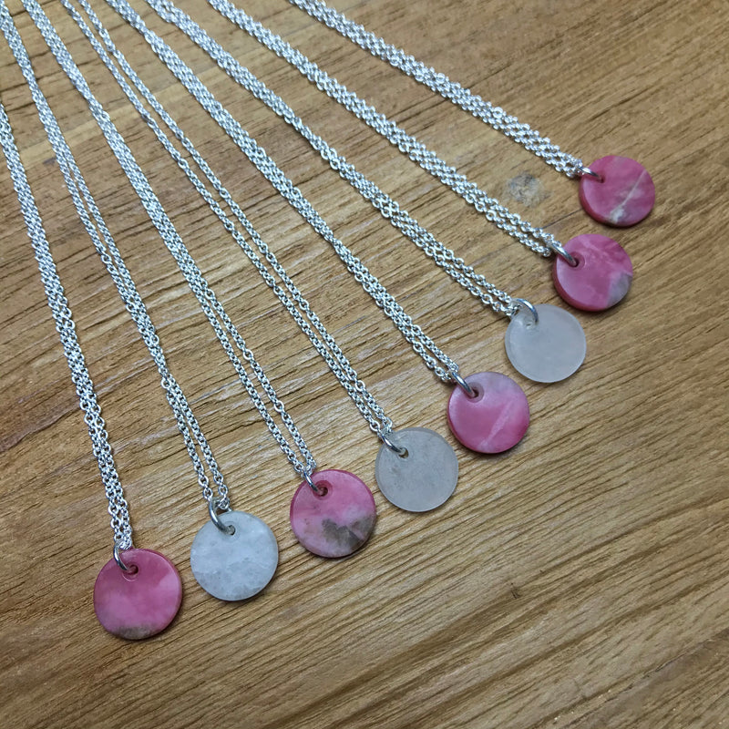 Sterling Silver Kopae Necklace - Rhodonite & Quartz