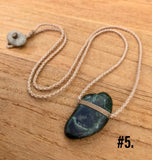 Natural Beach Pebble Bound Pendants