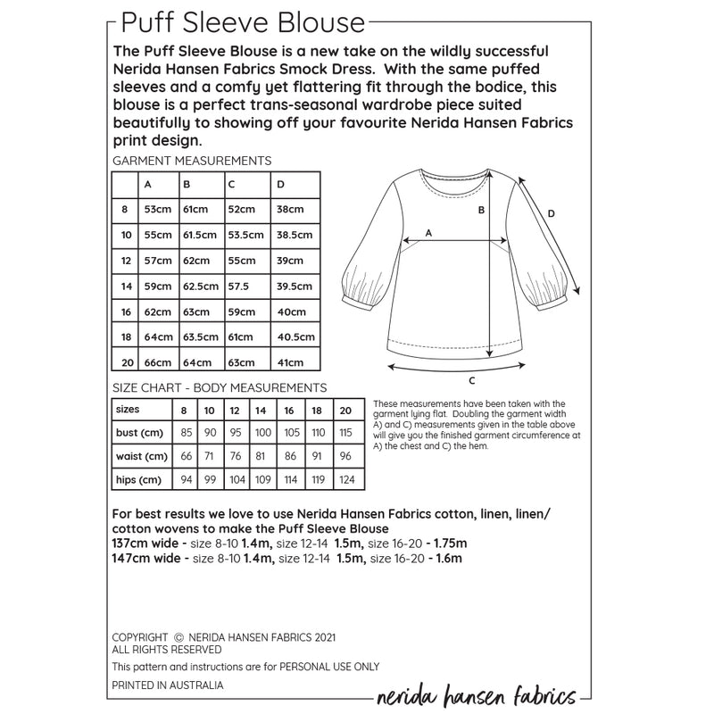 Puff Sleeve Blouse Sewing Pattern