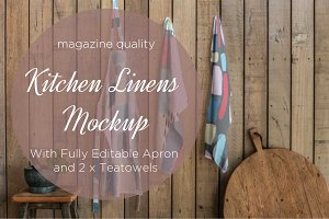 kitchen linens mockup