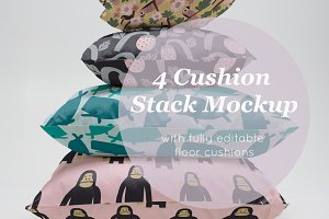 4 cushion stack mockup