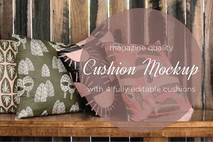 magazine quality cushion mockup