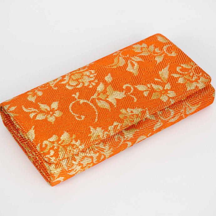 Orange & Gold Floral Brocade Clutch