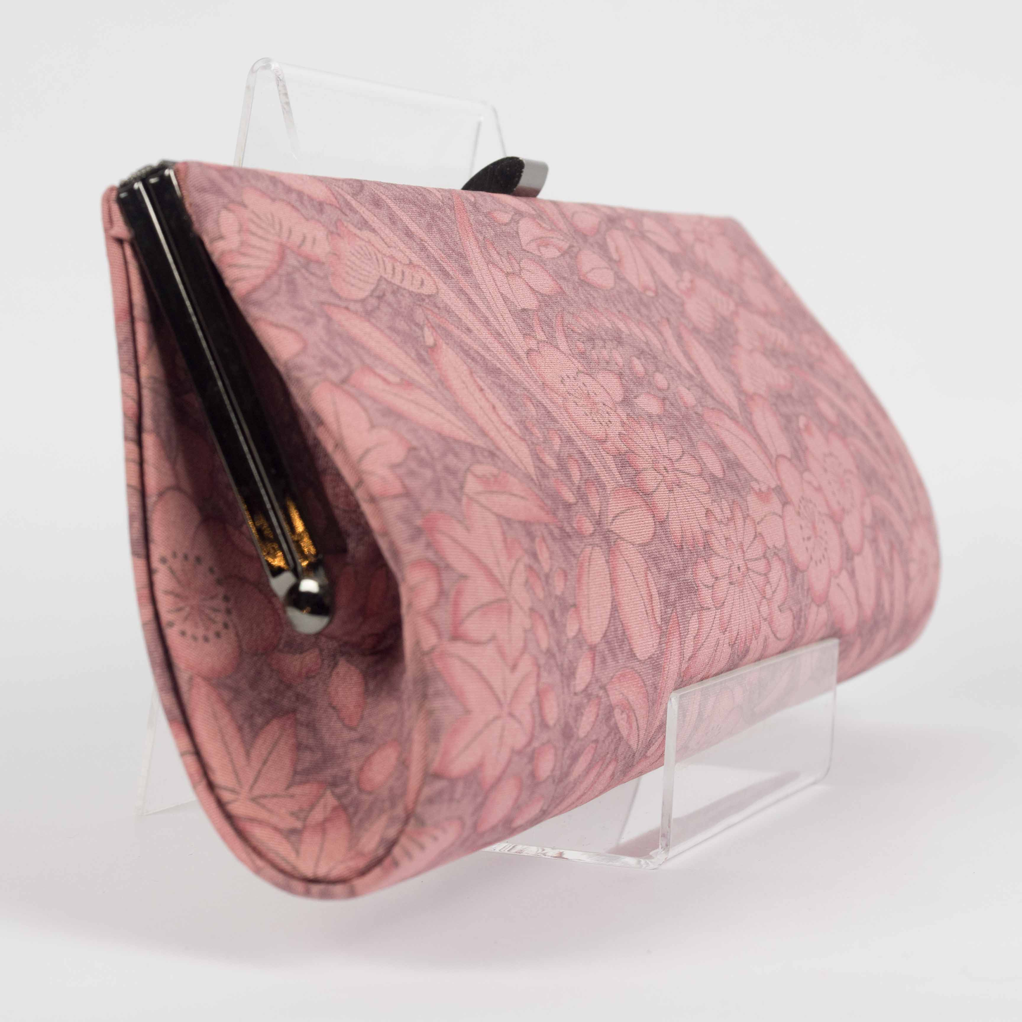 Pink Flowers Frame Clutch