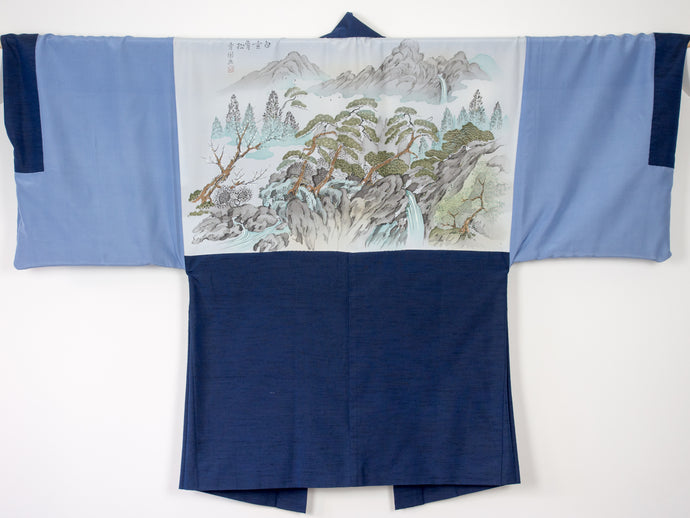 Men's haori with Hand-Painted Landscape