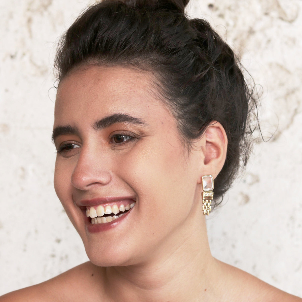 Barcelona Shainey stone earrings with gourmet chain