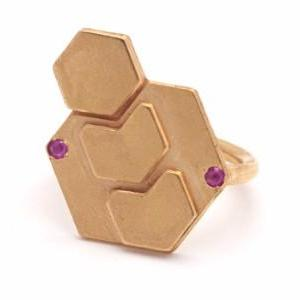 Big Hexagons ring with two stones