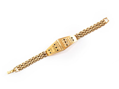 Link Bracelet with Diamond Shaped Pendant
