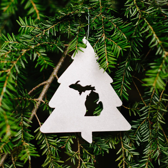 Metal Tree Michigan Ornament