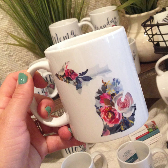 Mug //  Michigan  ~  Watercolor Floral Michigan Mug