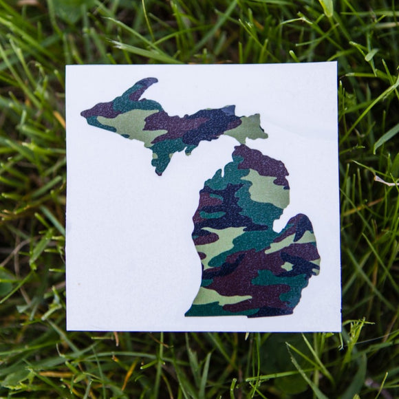 Decal  //  Michigan  ~  Camo Michigan Decal