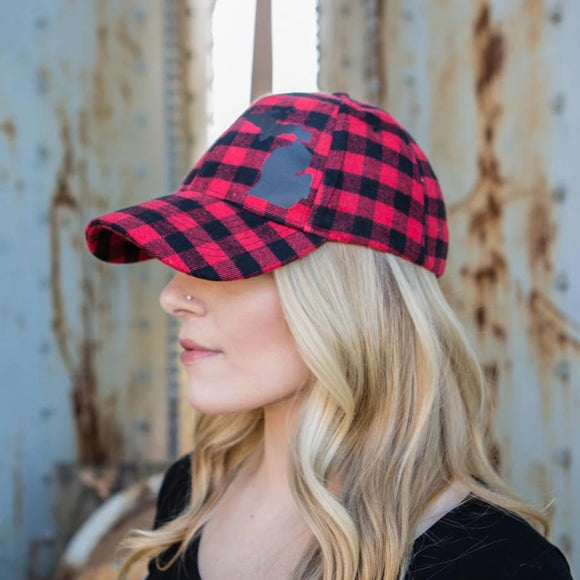 Hat //  Michigan  ~  Red Plaid Flannel Hat + Black MICHIGAN