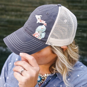Hat //  Michigan  ~  Vintage Floral Michigan Trucker Gray Hat