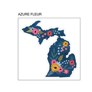 "Decal  //  Michigan  ~  ""Azure Fleur"" Floral Michigan"
