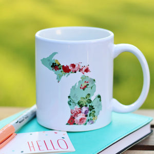 Mug //  Michigan  ~  Vintage Floral Michigan Mug