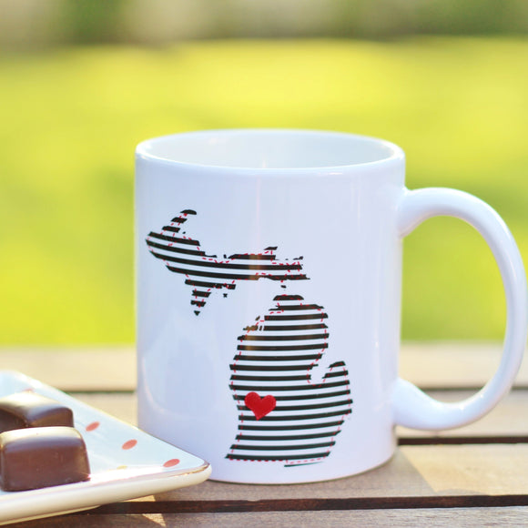 Mug //  Michigan  ~  Black & White Stripe + Heart