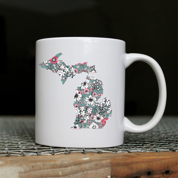 Mug //  Michigan  ~  Pink Posey Floral Michigan Mug