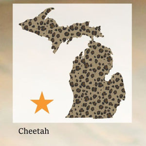 Decal  //  Michigan  ~  Cheetah Michigan Decal