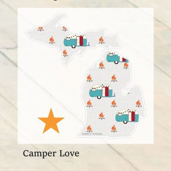 Decal  //  Michigan  ~  Camper Love Michigan Decal