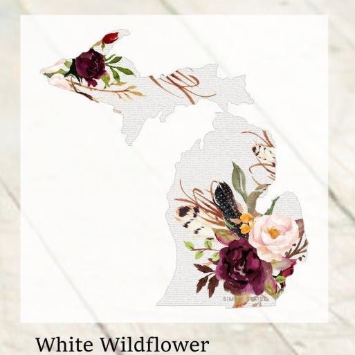 Decal  //  Michigan  ~  White Wildflower Michigan