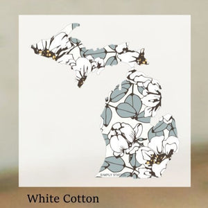 Decal  //  Michigan  ~  White Cotton Michigan Decal