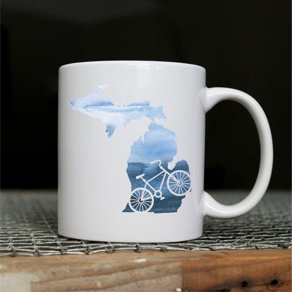 Mug //  Michigan  ~  Watercolor Bike Michigan Mug