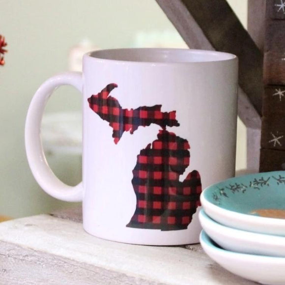 Mug //  Michigan  ~  Red Plaid Buffalo Check