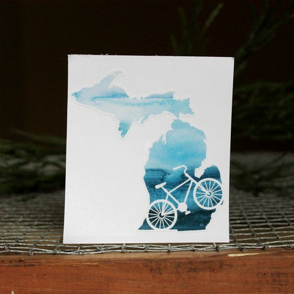 Decal  //  Michigan  ~  Watercolor Bike