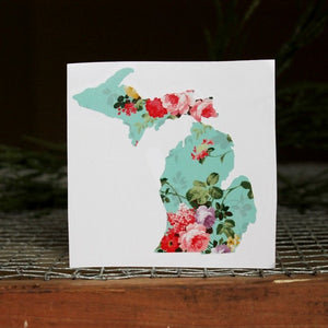 Decal  //  Michigan  ~  Vintage Floral Michigan Decal