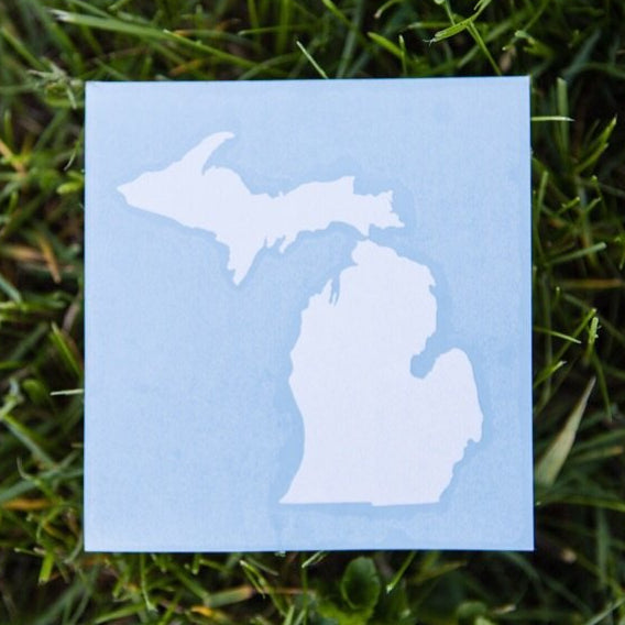 Decal  //  Michigan  ~  White Glossy Decal