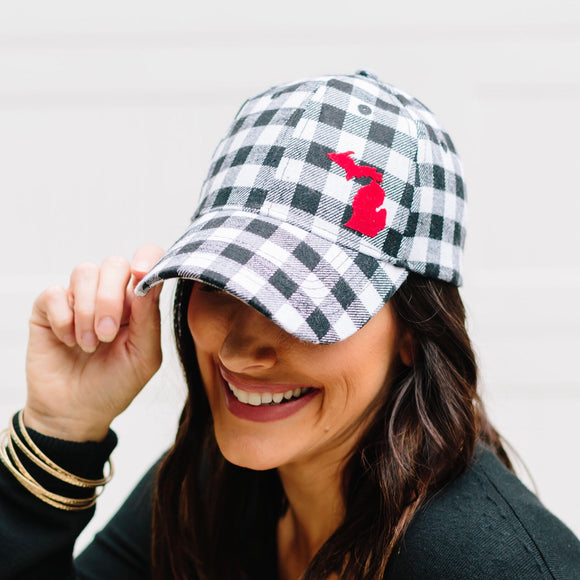 Hat //  Michigan  ~  White Plaid Flannel Hat + Red Felt MICHIGAN