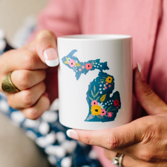 Azure Fleur Mug //  Michigan  ~  Blue Floral Michigan Mug