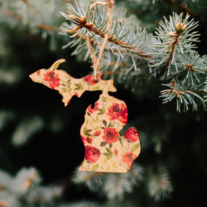 """Peppermint"" Floral Michigan Ornament"