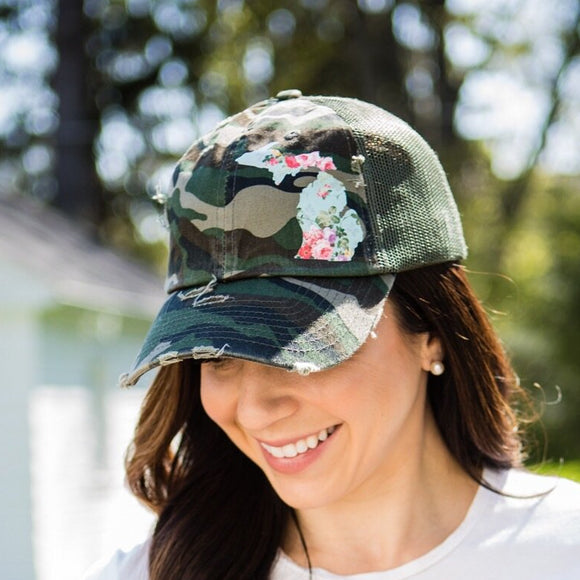 michigan floral camo hat