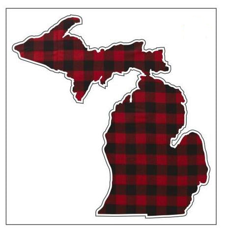 Decal  //  Michigan  ~  Red Plaid Buffalo Check
