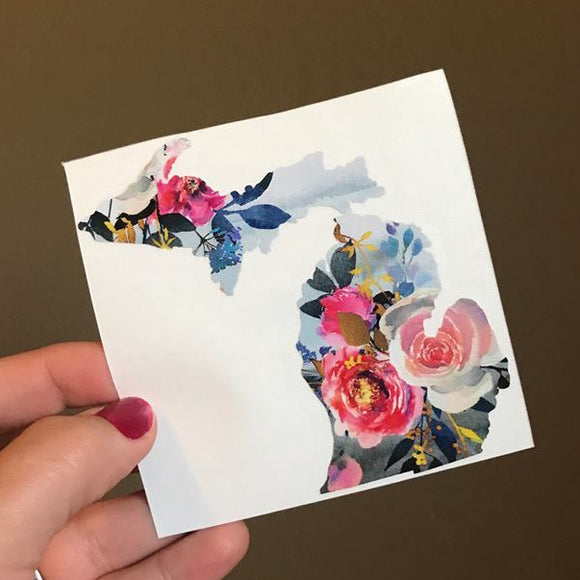Decal  //  Michigan  ~  Watercolor Floral Michigan Decal